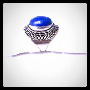 Sterling Silver Cobalt Blue Lapis Ring Size 8.5